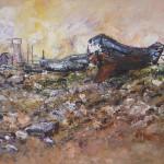 Boot op het droge 2009. Acryl op linnen, 90 x 120 cm.