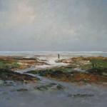 Groene strand Schiermonnikoog, 2010. Acryl op linnen, 100 x 130 cm; verkocht