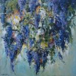 blauwe regen, acryl op linnen, 100 bij 100 cm; verkocht
