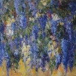 blauwe regen, acryl op linnen, 90 bij 120 cm; verkocht