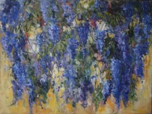 blauwe regen-acryl op linnen-90 bij 120 cm. verkocht