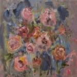 rozen, acryl op linnen, 30 bij 30 cm