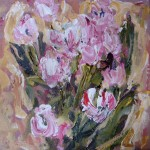 tulpen, acryl op linnen, 30 bij 30 cm; verkocht