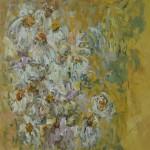 witte pioenrozen, acryl op linnen, 100 bij 100 cm