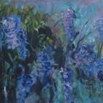 blauwe regen, 50 bij 120 cm, acryl op linnen